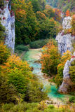 Valley Landscape in Autumn. Scenic autumn valley landscape in the mountains of Plitvice Lakes National Park, Croatia Royalty Free Stock Images