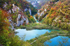 Valley Landscape in Fall. Scenic fall valley landscape in the mountains of Plitvice Lakes National Park, Croatia Stock Photos