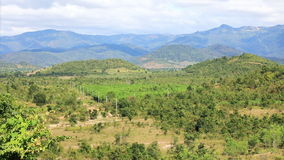 Valley landscape with mountains. In the background in Lam Dong area, Vietnam stock video