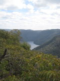 Valley landscape. River lake at Kangaroo Valley bushland landscape Stock Photos