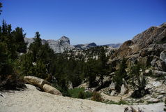 Valley with large granite mountains Royalty Free Stock Photos