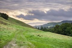 Valley in Las Trampas Regional Wilderness Park on a cloudy day, Contra Costa county, East San Francisco bay, California royalty free stock images