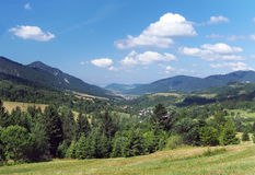 Valley in Mala Fatra with Terchova village Royalty Free Stock Photo