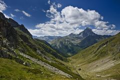 Valley and Midi d'Ossau Royalty Free Stock Images