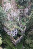 Valley of the mills, abandoned mills amidst undergrowth at the foot of a ravine in the old town of Sorrento, Amalfi Coast, Italy. royalty free stock photography