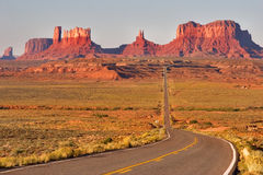 Valley of Monuments. Highway crossing the Valley of Monuments Stock Image