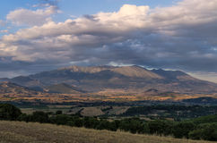 Valley and mount Olympus at the background, Greece Royalty Free Stock Photo