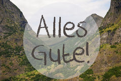 Valley And Mountain, Norway, Alles Gute Means Best Wishes Royalty Free Stock Photo