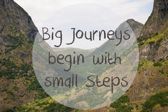 Valley And Mountain, Norway, Quote Big Journeys Begin Small Steps Stock Photo
