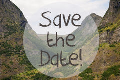 Valley And Mountain, Norway, Text Save The Date Stock Image