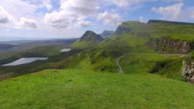 Valley in mountain Quiraing  in spring, Scotland, United Kingdom stock footage