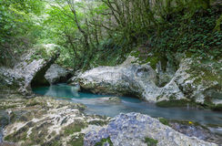 Valley of the mountain river on Caucasus Stock Images
