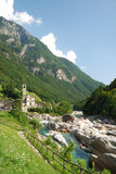 Valley of the mountain river in the Swiss Alps Royalty Free Stock Images
