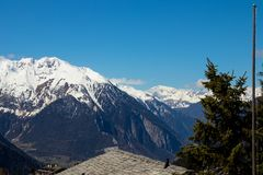 Valley mountain Snow view from Verbier switzerland. SWiss mountain snow valley verbier switzerland Stock Photo