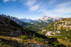 Valley and mountain views and scenery in the Italian Dolomites a Stock Photos