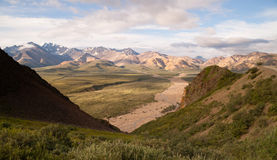 Valley and Mountains of the Alaska Denali Range Stock Photos