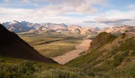 Valley and Mountains of the Alaska Denali Range Stock Photos