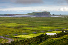 The valley among the mountains on the Atlantic coast, Iceland Royalty Free Stock Images
