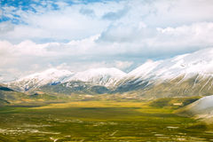 Valley and mountains with clouds. Valley and mountains and clouds Royalty Free Stock Photography