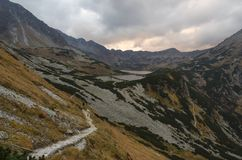 Valley in Mountains. Valley, lakes and path in Mountains stock photography