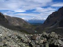 Valley in the mountains. Mountains Siberian Altai glacier hill moraine valley wildlife Alpine tourism Royalty Free Stock Photos