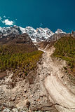 Valley and Mountains View in Himalaya Stock Photo
