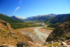 Valley and Mountians, El chalten, Patagonia. El Chalten Valley and surrounding mountains with river running through valley Stock Photography