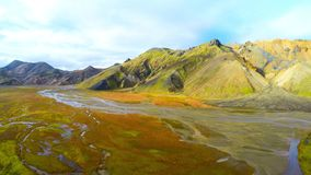 Valley National Park Landmannalaugar. Aerial view of the gentle slopes of the mountains. Magnificent Iceland in the autumn. Wide angle aerial view of mainland stock video footage
