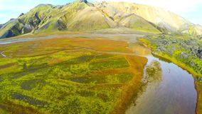 Valley National Park Landmannalaugar. Aerial view of the gentle slopes of the mountains. Magnificent Iceland in the autumn. Wide angle aerial view of mainland stock video