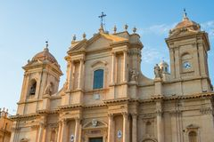 Valley of Noto Sicily. Typical details of Baroque architecture in Noto stock images