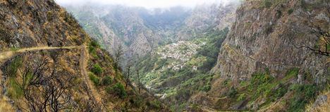 Valley of the Nuns Madeira, Portugal. Hiking trail to the village of Curral das Freiras - Valley of the Nuns Madeira, Portugal - panoramic view stock photos