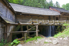 In the valley an old water mill detail Stock Photo