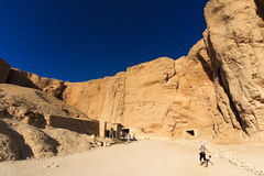 Valley ot the Kings. Panoramic of access to the tombs of Thutmose I (left) and Tausert and Sethnajt (right Stock Images