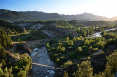 Valley of the pristine river Ara at sunset, Spanish Pyrenees Stock Photo