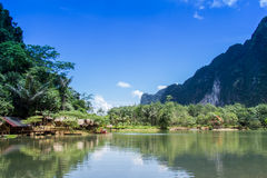 Valley Reservoir and  Homestay beautiful in thailand Royalty Free Stock Image
