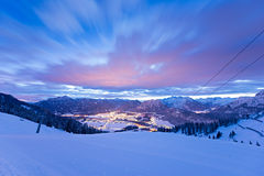 Valley reutte at winter night Stock Photos