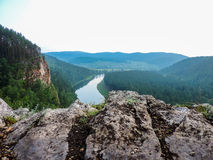 Valley of the river Ai. River Ai (Chelyabinsk region, Russia) from one of the rocks Stock Images