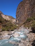 Valley with river. Beautiful valley in Nepal with river Stock Photo