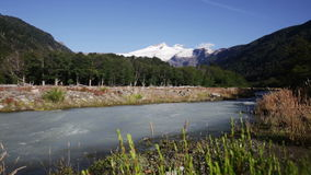 The valley of the river Cauquenes and mount Tronador in the summer stock video footage