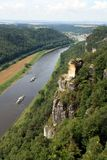 The river ELBe. The valley of the river Elbe with the crossing, view from heights, a beautiful coasts, small houses, beautiful horns village stock images