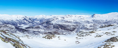 Valley of the river Hemsila. View from the top of the mountain Totten to the valley of the river Hemsila and resort Hemsedal Stock Photos