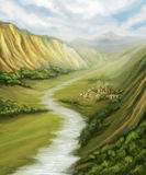 Valley with river landscape. And little town, digital painting Stock Photography