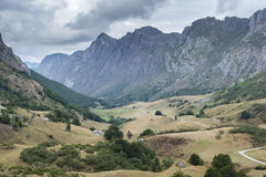 Valley of the River Rio del Valle. In Somiedo Nature Reserve. It is located in the central area of the Cantabrian Mountains in the Principality of Asturias in Stock Image