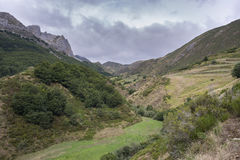 Valley of the River Trabanco. La Peral, in Somiedo Nature Reserve. It is located in the central area of the Cantabrian Mountains in the Principality of Royalty Free Stock Photo
