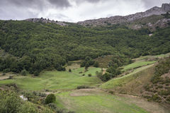 Valley of the River Trabanco. La Peral, in Somiedo Nature Reserve. It is located in the central area of the Cantabrian Mountains in the Principality of Stock Photos
