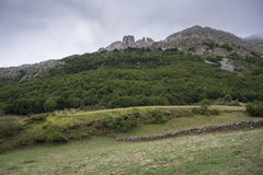 Valley of the River Trabanco. La Peral, in Somiedo Nature Reserve. It is located in the central area of the Cantabrian Mountains in the Principality of Royalty Free Stock Image