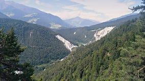 Valley River View Flims Switzerland Landscape Aerial 4k stock video footage