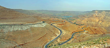 Valley Road. Switchbacks of the King's Highway through the Arnon Valley in Jordan stock image