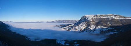 Valley of the Sakana  Barranca  covered with a sea of clouds. And Mount Beriain San Donato, Navarra Stock Photos
