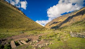 Valley salkantay trail peru. The valley and trail leading to the salkantay mountain Stock Image